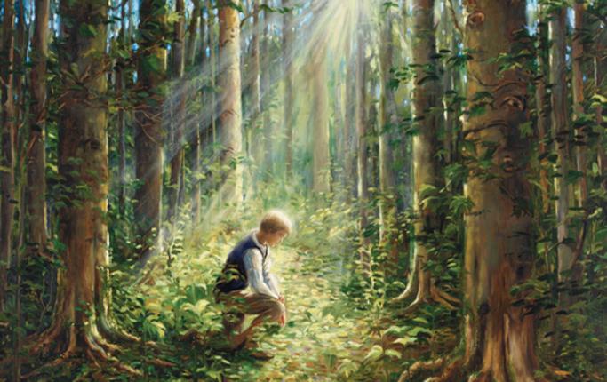 Joseph Smith wollte wissen was wahr ist und las in der Bibel, Jakobus 1:5. Dort erfuhr er was er tun musste.