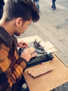 Antoine Berard, street poet. Photo by Carla Coulson.
